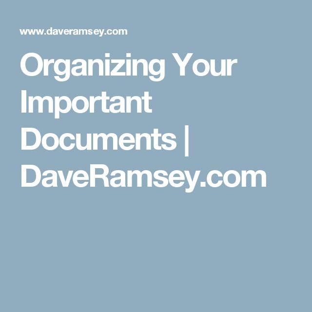 Organizing Your Important Documents | DaveRamsey.com