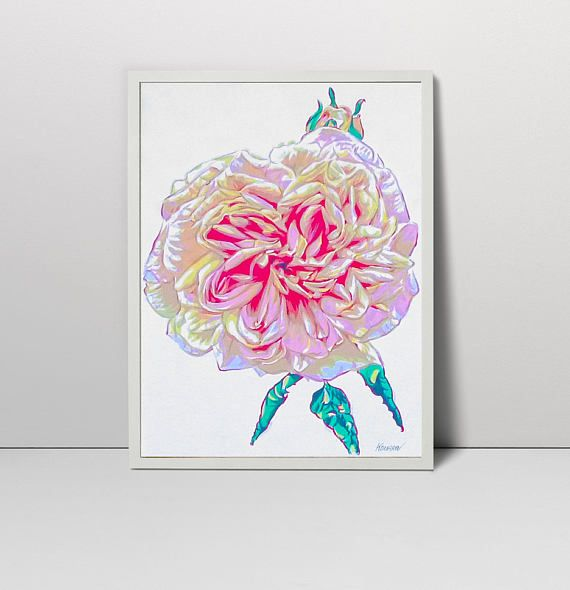 Pink rose art  flower serigraph  rose art  rose print