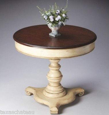 TUSCAN FRENCH COUNTRY CREAM PAINTED PEDESTAL TABLE ACCENT HALL ENTRY FOYER NEW