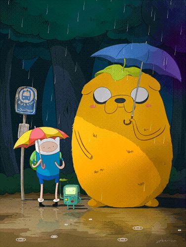 """Adventure Time"" meets ""My Neighbor Totoro"" by JJ Harrison. If you click through to the link, it's actually got some animation, which makes it even cuter."