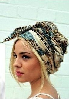 Perfect gypsy hair style complete with a printed scarf