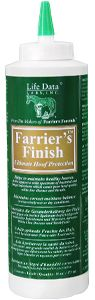 "Farrier's Finish® is a liquid topical hoof dressing that combats the ""hoof eating"" bacterial and fungal invasions which cause white line disease, thrush, and poor hoof quality. It is also a conditioner that supports correct hoof capsule moisture balance in excessively wet or dry conditions."