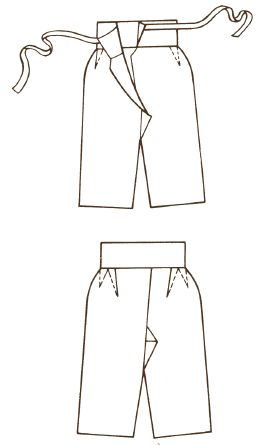 Song Dynasty. The structural sketch drawings for Song Dynasty lady trousers. [Painted according to excavated relics in Huangsheng Tomb in Fuzhou, selected from Research on Ancient Chinese Clothes and Adornments by Shen Congwen.]