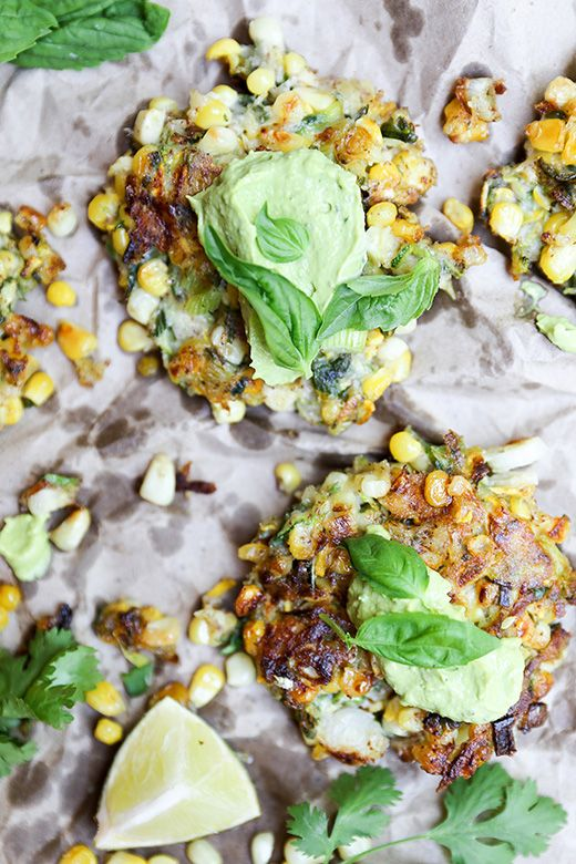 Sweet Corn and Squash Fritters with Avocado Crema | www.floatingkitchen.net