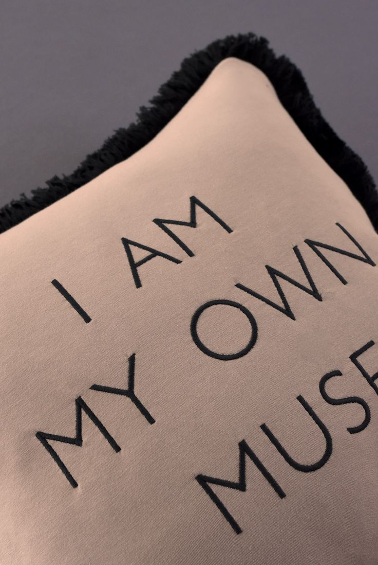 I AM MY OWN MUSE typography embroidered an jersey cushion