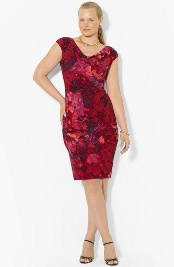 Lauren Ralph Lauren Floral Print Sheath Dress (Plus Size) available at #Nordstrom