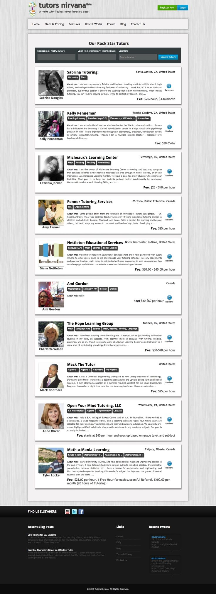 Open Marketplace - List your profile in Tutor Nirvana's searchable database.  http://www.tutorsnirvana.com/search_tutors