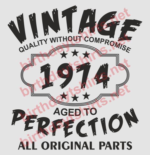 Vintage 1974 Birthday Tee Shirts