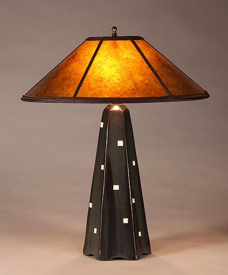 Six-Sided Lamp in Onyx with White Squares: Jim Webb: Ceramic Table Lamp - Artful Home