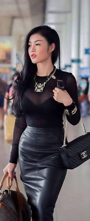 Black leather topped off with LV & CHANEL, tres` chic!