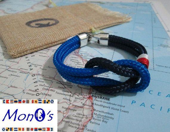 Bracciale con chiusura in Zamak Blu e azzurro Men's nautical bracelet with zama clasp