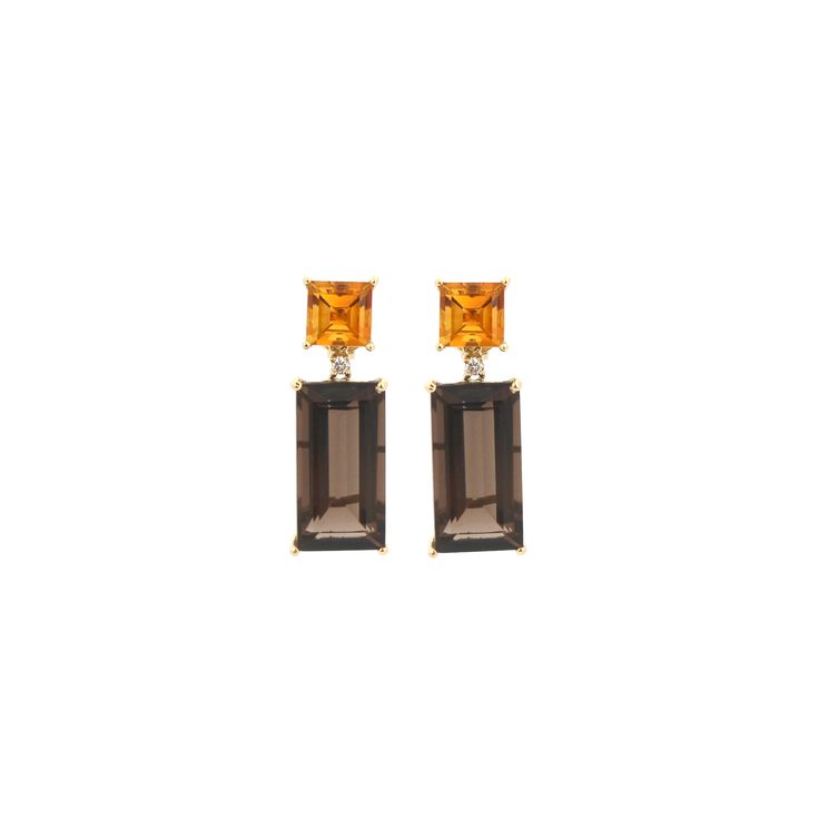 GRAND MARNIER EARRINGS | These magnificent earrings are made from citrine, smokey quartz and diamonds using 18 karat yellow gold.