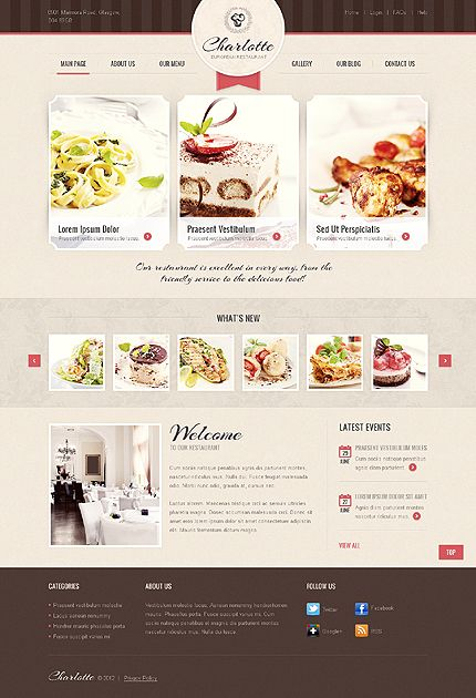 Template 39353 - European Restaurant Joomla Website Template With Lightbox Image Gallery