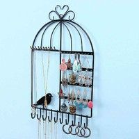 Descriptions: Color:White/Black Style:Jewelry Wall-mounted Metal Display Material:Metal Weight:App 2