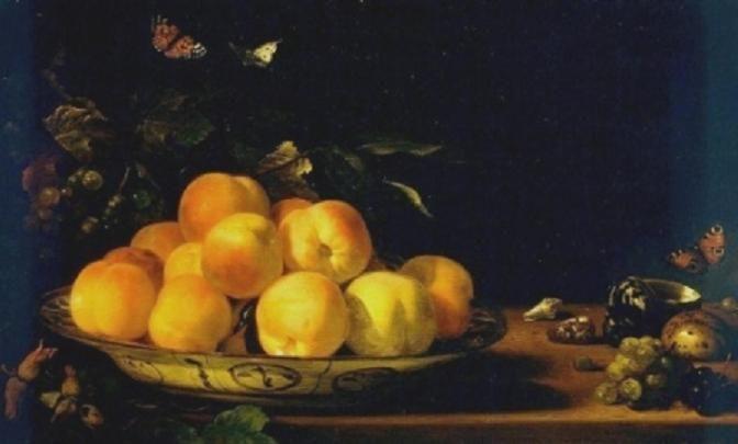 Abraham van Calraet - stilleven met perziken. Персики в фарфоровой миске. 1690 Креллер-Мюллер музей Otterloo, Нидерланды