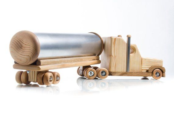 Wooden toys for boys Montessori educational toys Tank truck for cars lovers Handmade wood toys Unique birthday gift idea Christmas kids gift