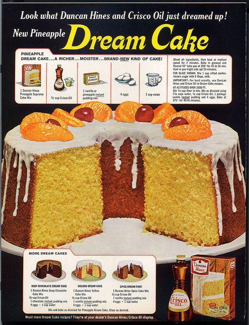 Duncan Hines and Crisco Oil Dream Cake Vintage Magazine Recipes