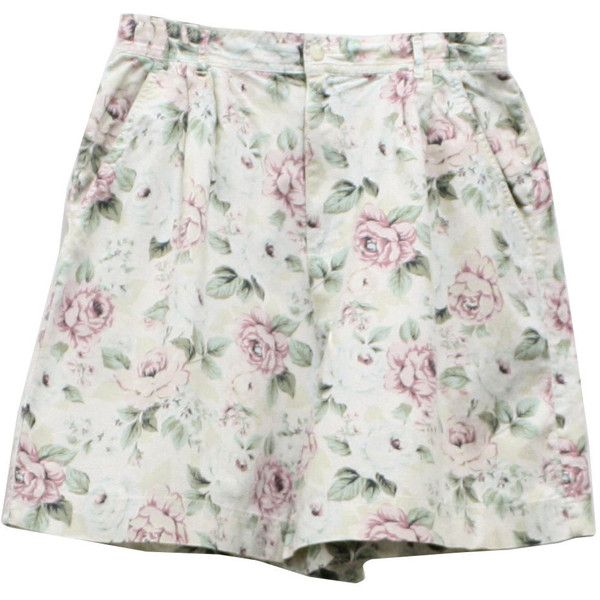 Retro 1990's Shorts (Leslie Fay) - 90s -Leslie Fay- Womens beige, off white, pink, green and black floral print cotton high waist wicked 90s shorts with button/zip front closure, two inset hip pockets and deep pleated waistline.