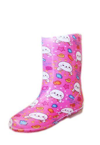 Mädchen Gummistiefel, pinker Hintergrund mit Hasen - http://on-line-kaufen.de/malataba/maedchen-gummistiefel-pinker-hintergrund-mit