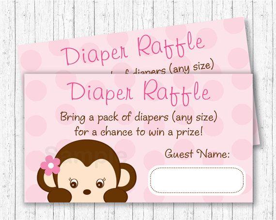 Girl Monkey Diaper Raffle Tickets / Monkey by LittlePrintsParties
