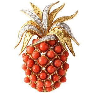 Cartier Coral Diamond Pineapple Brooch