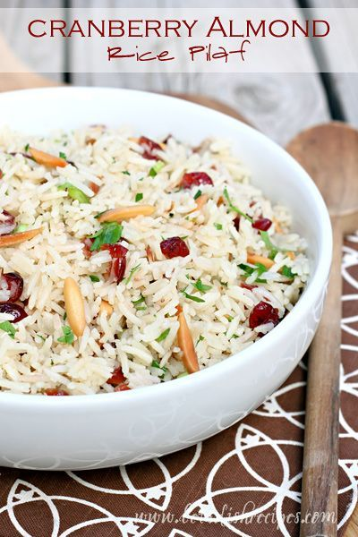 Cranberry Almond Rice Pilaf  The perfect easy side dish recipe for Thanksgiving…
