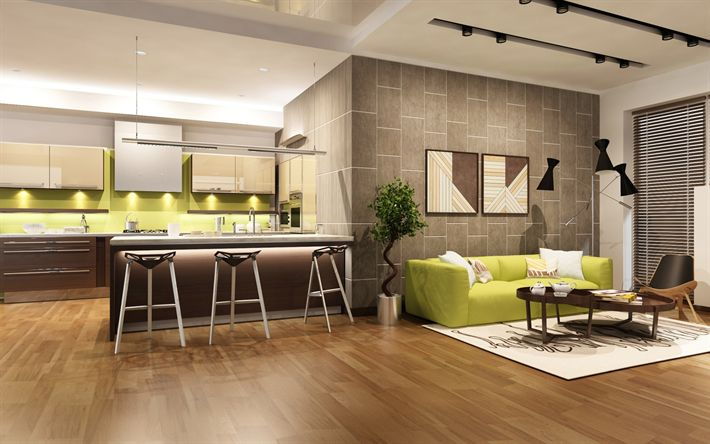 Download wallpapers interior living room, kitchen, modern design, green furniture, stylish design