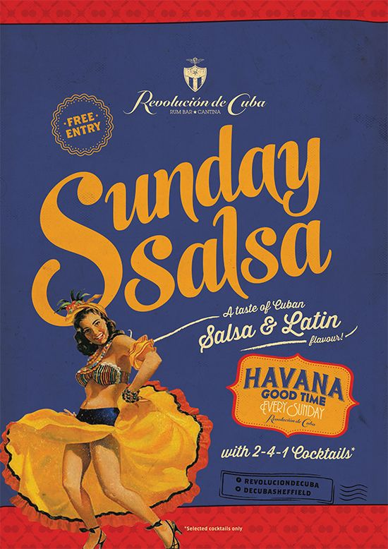 Cuban Night Poster. Sunday Salsa Graphic Design Flyer and Poster by www.diagramdesign.co.uk
