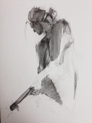 Life drawing- figure study using liquid pencil, Karen Darling