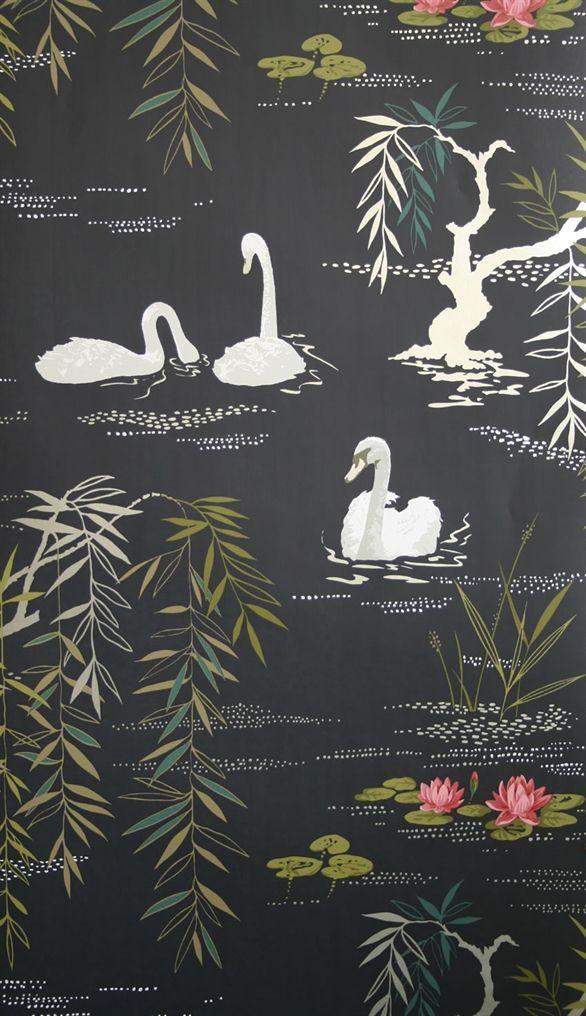 """Ilus tapeet """"Nina Campbell Wallpaper Swan Lake"""""""