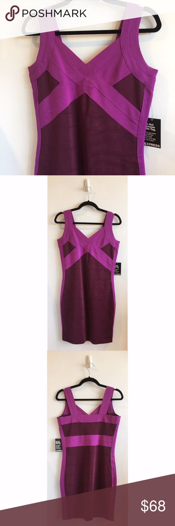 """Express NWT Maroon & Purple Bandage Dress - Maroon and purple bandage dress - Super stretchy and supportive bandage construction - NWT never worn, in perfect condition - Length from shoulder: 36"""" - Chest: 34"""" Express Dresses Mini"""