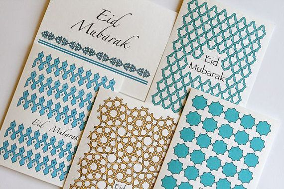5 Eid greeting cards with Gorgeous islamic patterns. by olivescent, $15.00