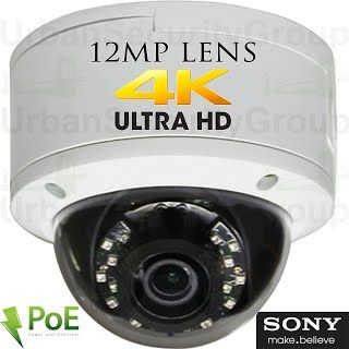 USG Sony DSP Ultra 4K 8MP 3840x2160 @ 30FPS H.265 Ultra HD IP PoE Network Dome Security Camera : 12MP 5mm Lens, ONVIF 2.4, Weatherproof, 18x 14μ IR LEDs, Audio, Alarm, microSD Slot : Free Phone App