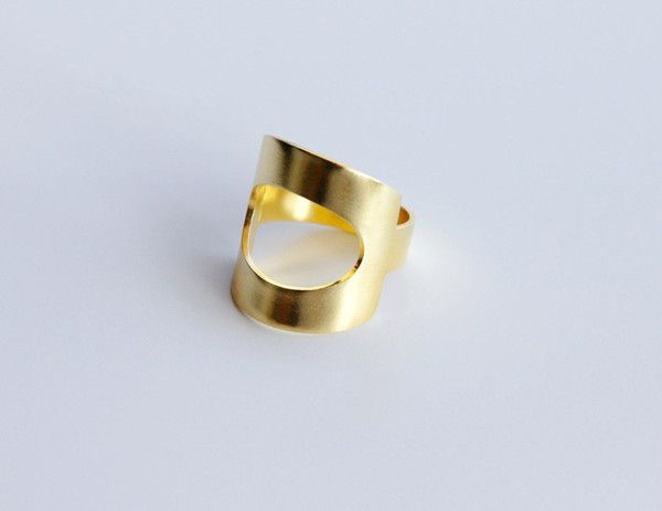 24K Gold Plated Sterling Silver Geometric Ring with Oval Cut Out