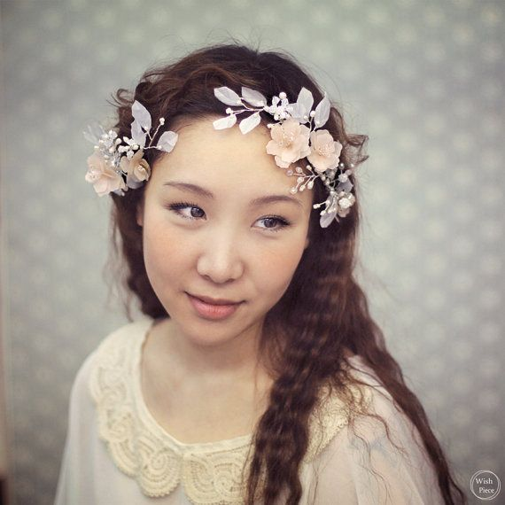 Floral Wedding Headpiece - Romantic Bridal Hair Piece with Silk Flowers Rhinestones Pearls - Bridal Hair Accessories - Style HP1315