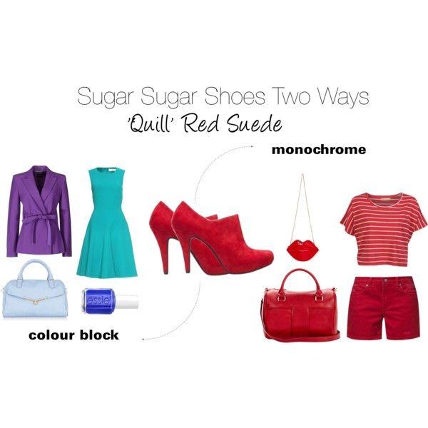 """Sugar Sugar Two Ways Quill Red Suede"" by sugarsugar-aus on Polyvore"