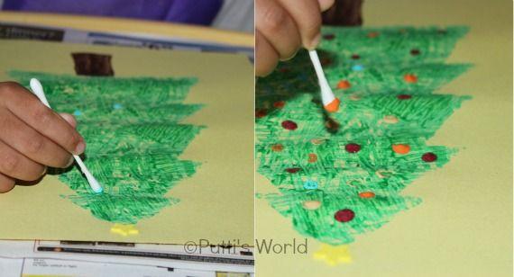 Yarn Stamped Christmas Tree Kids Crafts