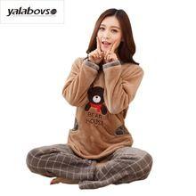 Yalabovso 2017 Invierno coral velvet pijamas mujeres establece Cute Bear Cusual Loose Caliente Suave de Franela Hembra hogar trajes de pijamas de Las Mujeres(China (Mainland))