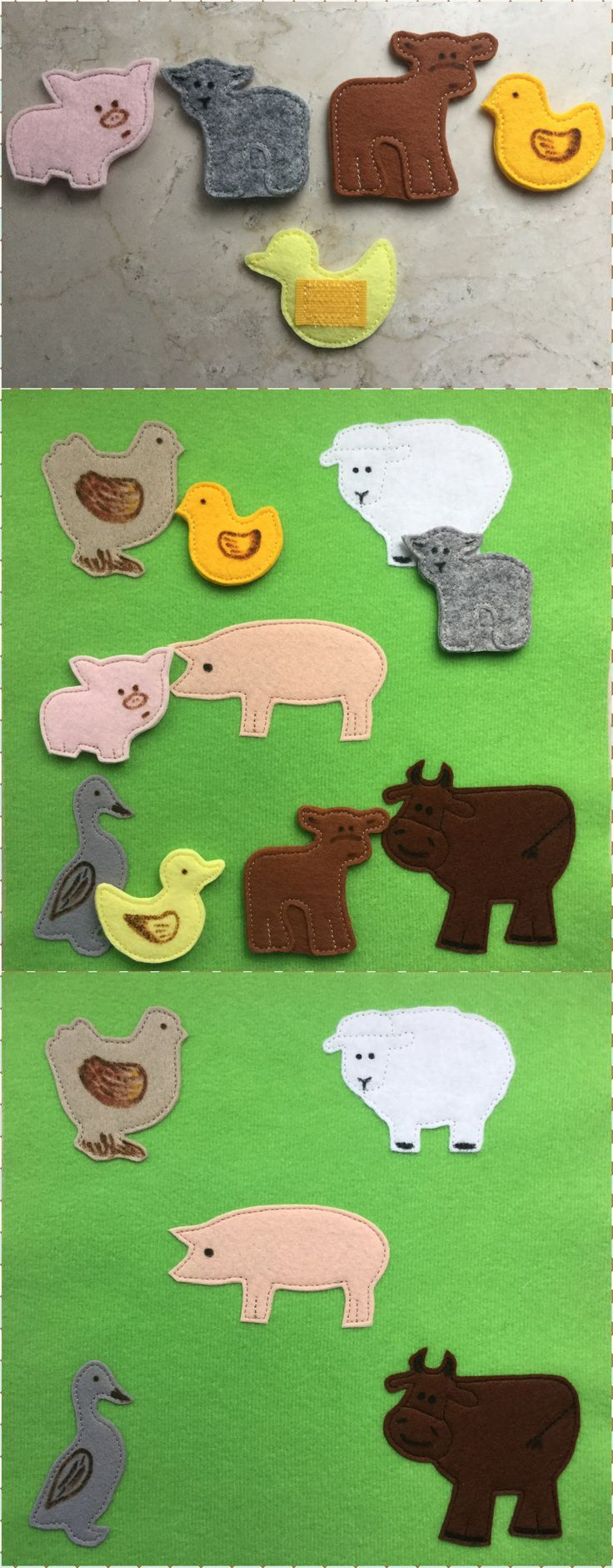 """Quiet book page TUTORIAL """"Animals and their babies"""""""