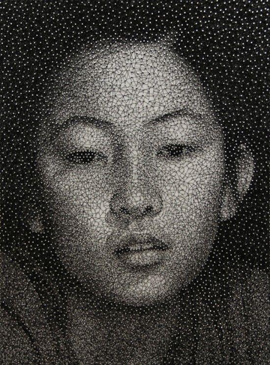 Japanese artist Kumi Yamashita creates  portraits by wrapping a single UNBROKEN black thread around galvanized nails, on a clear white board.: Artists, Constellations, Ten Yamashita, Single Thread, Sewing Thread, Thread Wraps, Nails, Portraits, Kumiyamashita