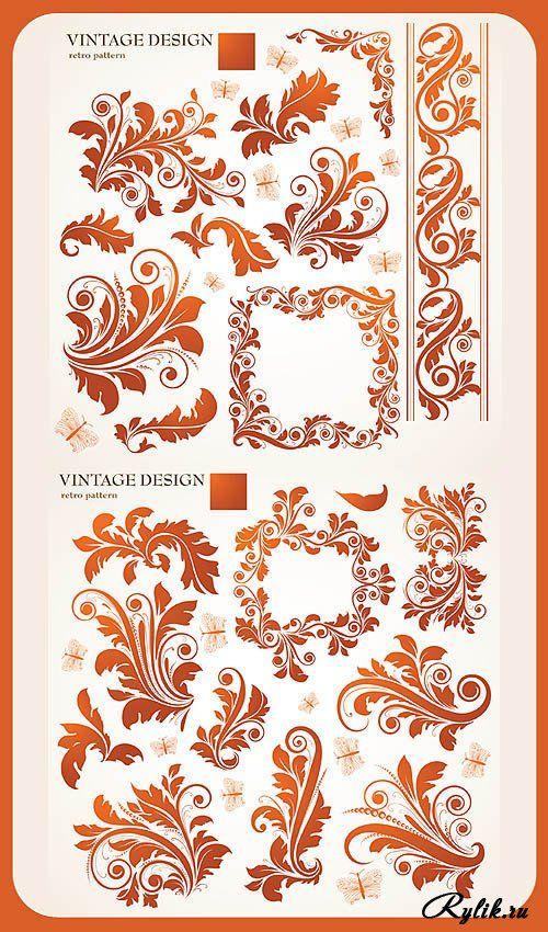 Винтажные растительные узоры и орнаменты. Vintage Design (Shutterstock)