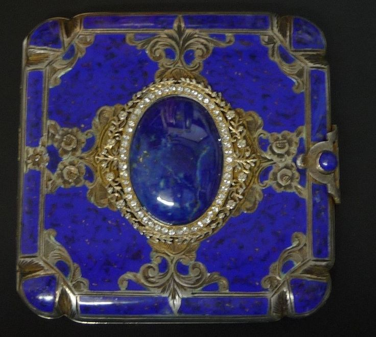 Vintage 800 Silver Lapis Compact Made In Italy