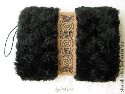муфта меховая с вышивкой чёрная - чёрный,муфта,муфта меховая,искусственный мех