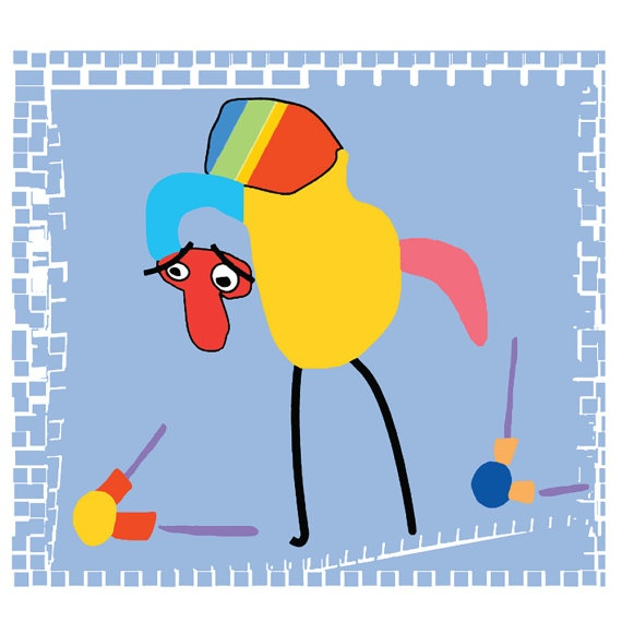 Child art Bird shapes Giclee Art print children by OzscapeDesigns, $15.99