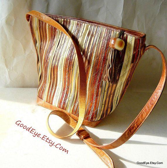 Vintage geweven en gewatteerde lederen Hobo portemonnee door GoodEye