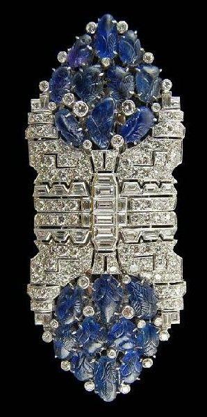 Art Deco Platinum Double Clip Diamond & Sapphire Pin.