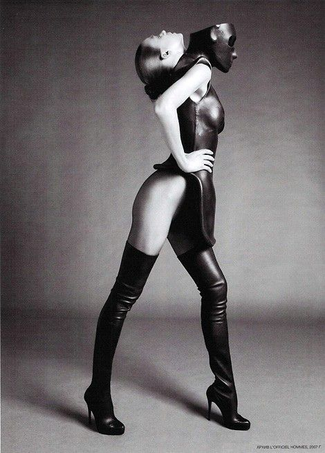 Double Identity, Alexander McQueen Thigh High Boots. L'Officiel Russia April 2010