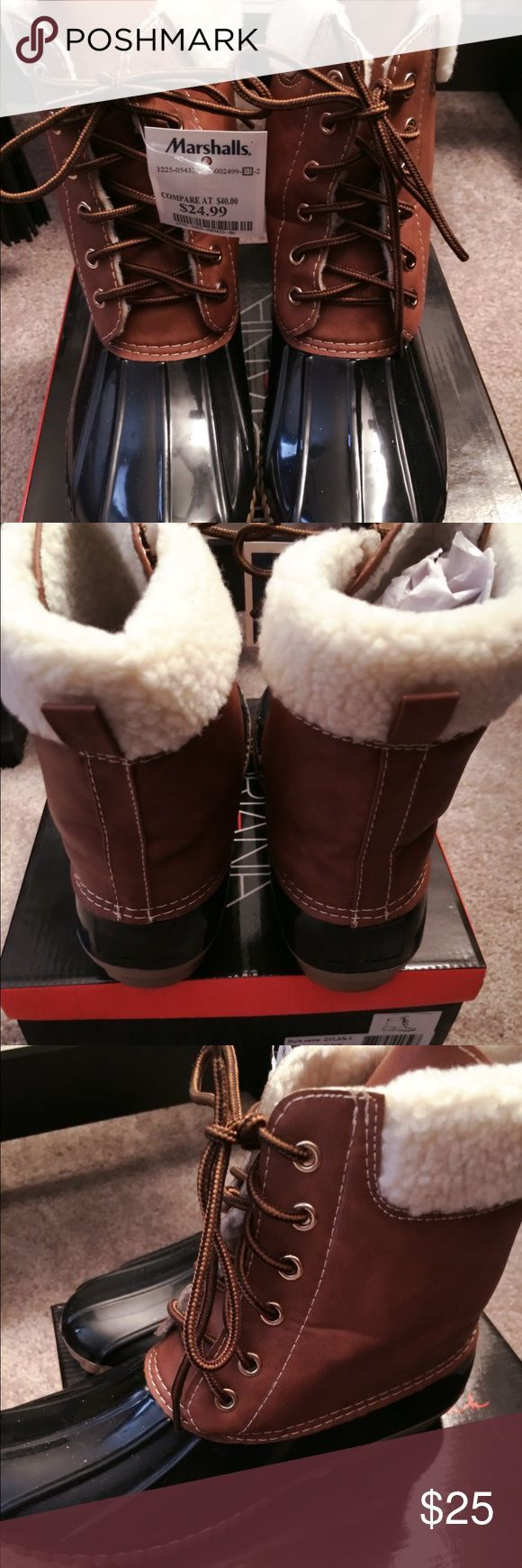 New Original Duck Boots with Sherpa Trim New with Tags. Size 7.5. Purchased at Marshalls. Too big for me. Duck Boots. Sherpa/Fur collar. Great for the upcoming season. Made by Arianna New York. LL Bean for exposure. #boots #bootie #duckboot #llbean #sperry #timberland #nike #minnetonka #hunter #toryburch #nordstrom #eddiebauer L.L. Bean Shoes Ankle Boots & Booties
