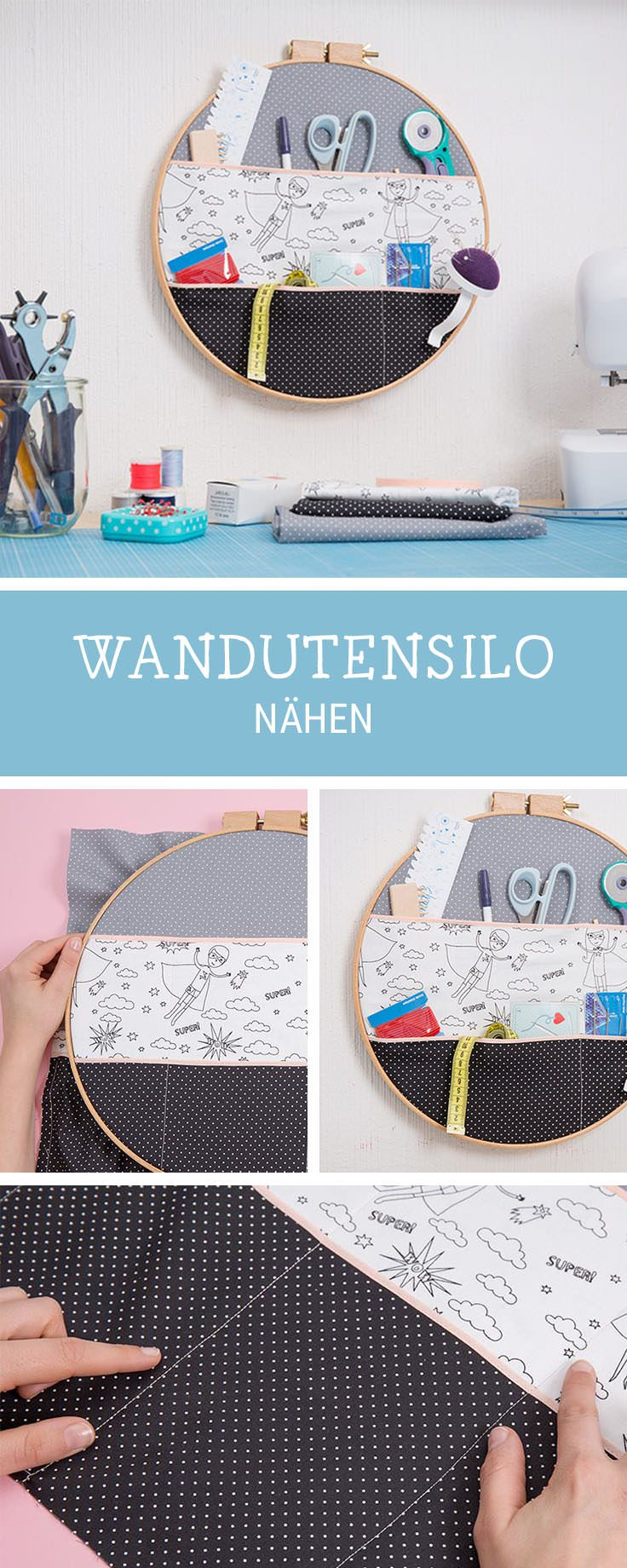 Nähanleitung für ein Utensilo: Wir zeigen Dir, wie Du aus einem Stickrahmen ein Wandutensilo machst / transform an embroidery frame into an utensilo, storage idea via DaWanda.com