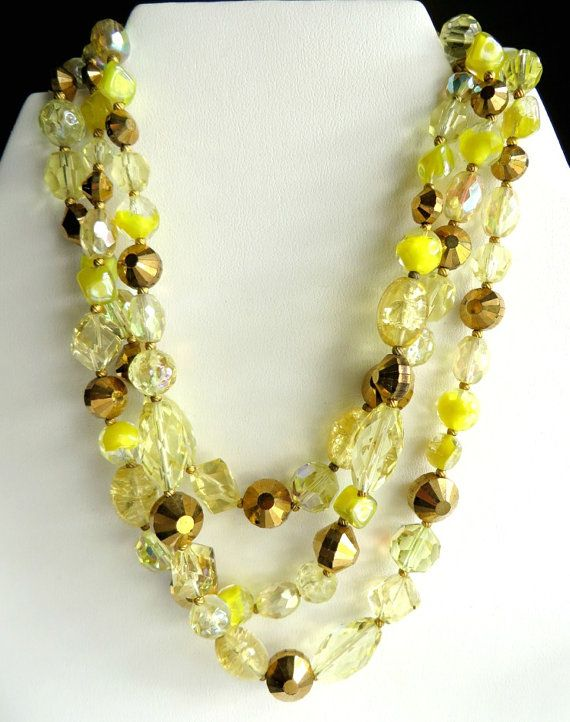 Vintage Hattie Carnegie Graduated Choker Necklace in varying shades of Yellow and Gold Rhinestones in oblong, round, smooth and faceted shapes.